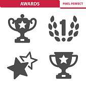 Professional, pixel perfect icons depicting various awards, trophies and prize concepts. EPS 8 format.