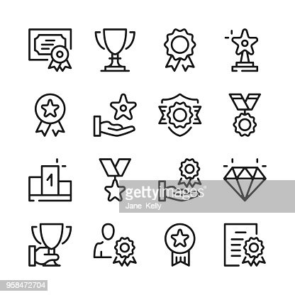 Awards line icons set. Modern graphic design concepts, simple outline elements collection. Vector line icons : stock vector