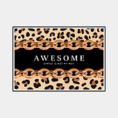 'Awesome Simple is not my way' quote on a black background with leopard print pattern and golden chains.