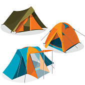 Awning tents isolated on white background. Realistic vector illustration of tourist camping tents icons collection. Hiking pavilions of triangle and dome design in green, blue, yellow colors.