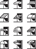 Awnings and canopies of buildings - vector illustration