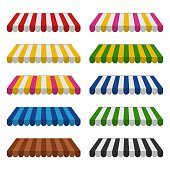 Awnings set isolated on white background. Striped colorful sunshade for shops, cafes and street restaurants. Outside canopy from the sun. Vector illustration