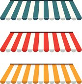 Colorful set of striped awnings