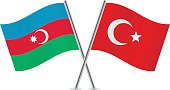 Azerbaijan and Turkish flags. Vector illustration.
