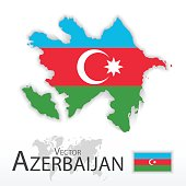 Azerbaijan ( Republic of Azerbaijan ) ( flag and map ) ( transportation and tourism concept )