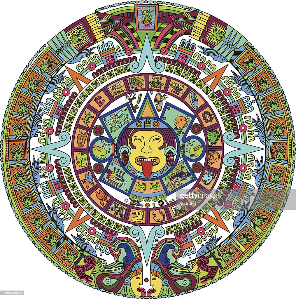 aztec calendar illustration vector art getty images