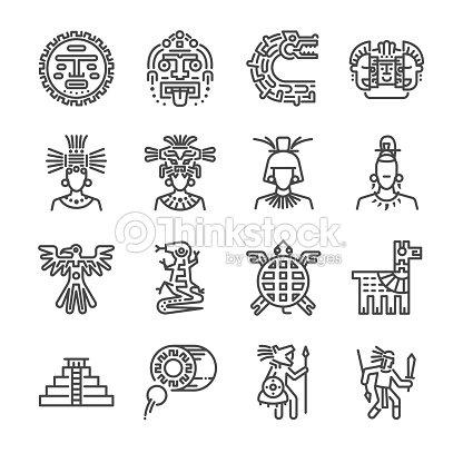 364369b04 Aztec icon set. Included the icons as maya, mayan, tribe, antique, pyramid  , warrior and more.