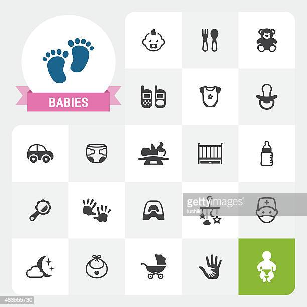 Babies base vector icons and label