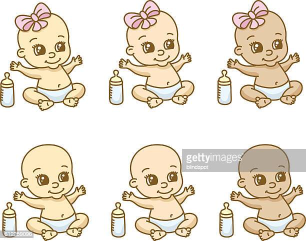 Babies of different ethnicities and gender