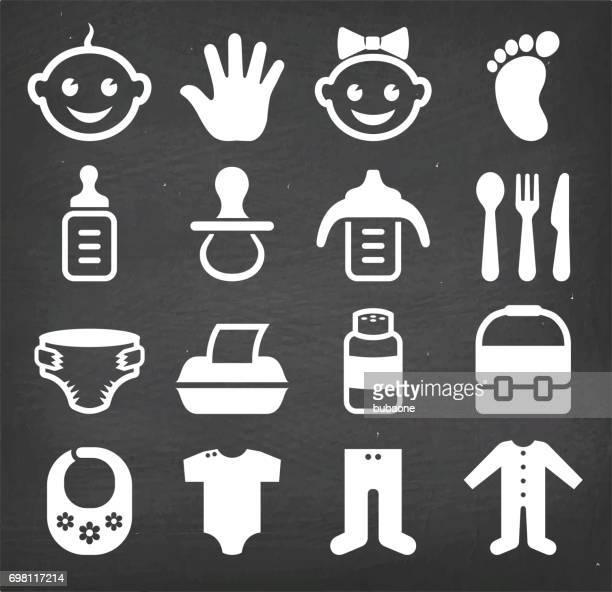 Baby- en pasgeboren royalty's gratis vector icon set