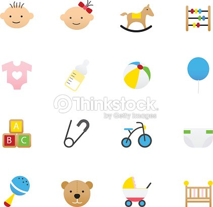 Baby and Toy Icons. Set of People Vector Illustration Color Icons Flat Style.