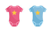 Baby bodysuit vector illustration set - pink and blue newborn wearing decorated with yellow star isolated on white background. Infant clothing for boys and girls in flat style.