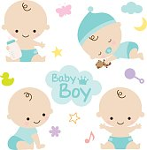 Vector illustration of baby boy with cute graphic elements. Perfect for baby shower.