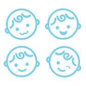 baby boy face icon symbol isolated background