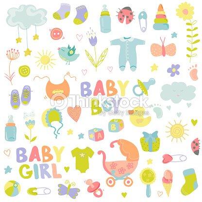 Niño bebé niña o elementos de diseño para álbum de recortes   Arte vectorial ff5627037c68