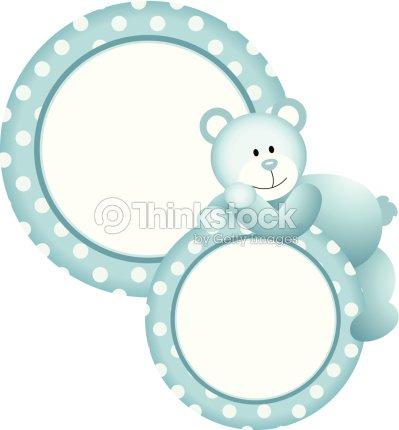 Baby Boy Round Frame Teddy Bear Vector Art | Thinkstock