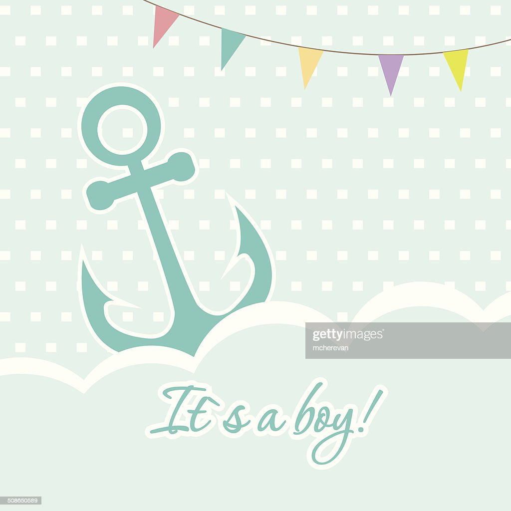 Baby boy shower card with cute anchor on seamless polka : Vector Art