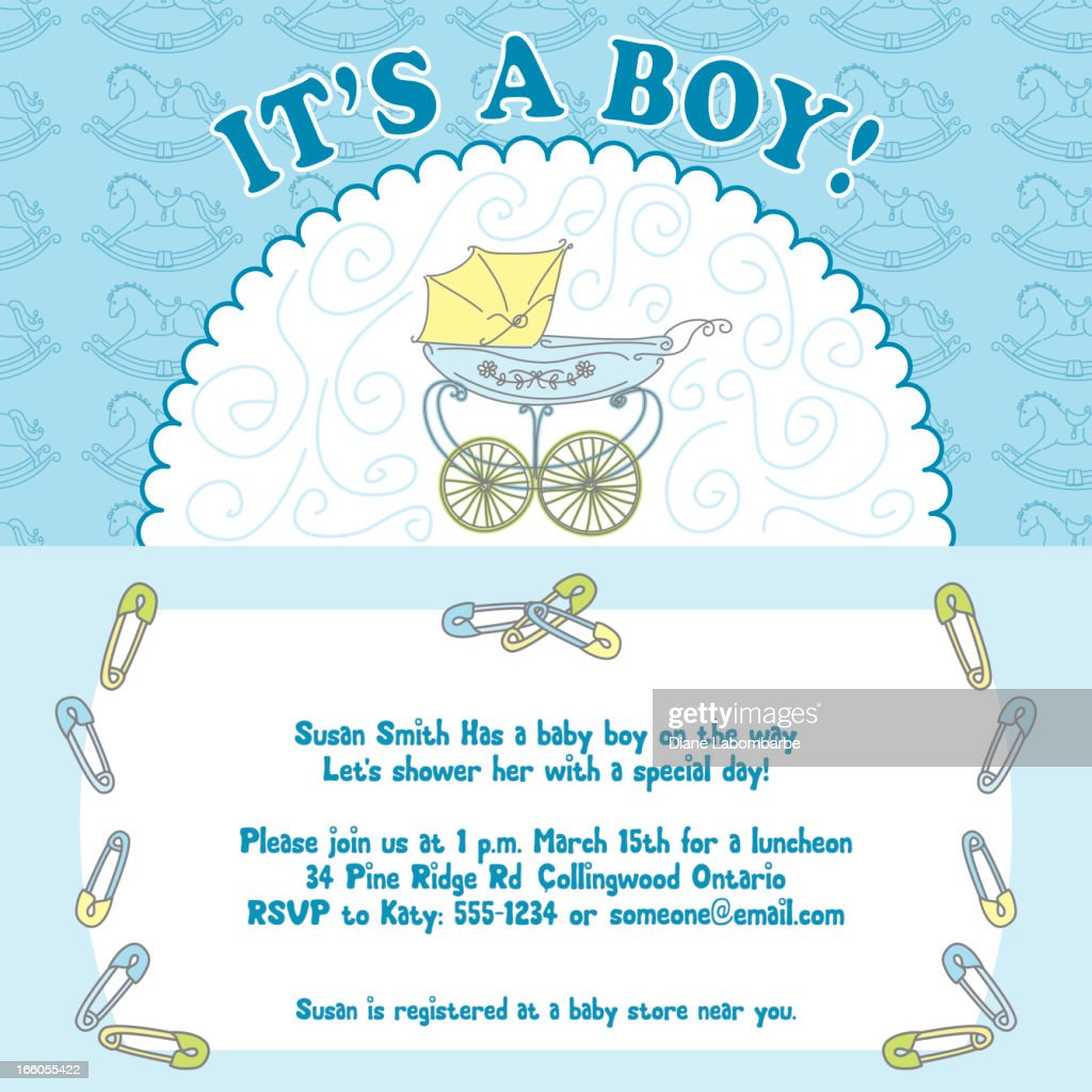 baby boy shower invitation vector art