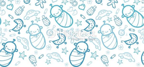Flores Horizontales Dibujos Animados Patrón De Fondo: Bébés Garçons Fond Motif Sans Couture Horizontale