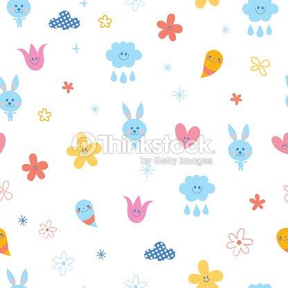 Baby Bunnies Flowers Clouds Hearts Kids Seamless Pattern Vector Art