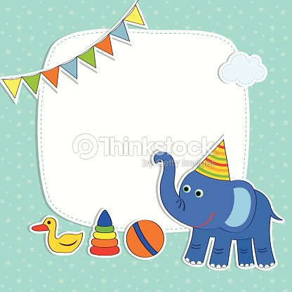 Baby Card With Elephant And Frame Vector Art | Thinkstock