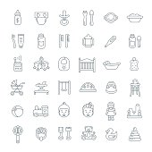 Baby care linear icons. Simple outline vector illustrations. Thin line pictograms of newborn baby hygiene, food, healthcare, growth and playing. Accessories and toys for happy kid and mother