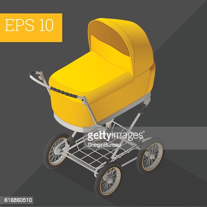 baby carriage isometric vector illustration : Vector Art
