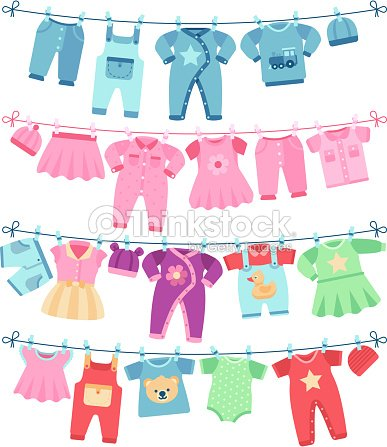 Baby clothes drying on clothesline vector illustration : stock vector