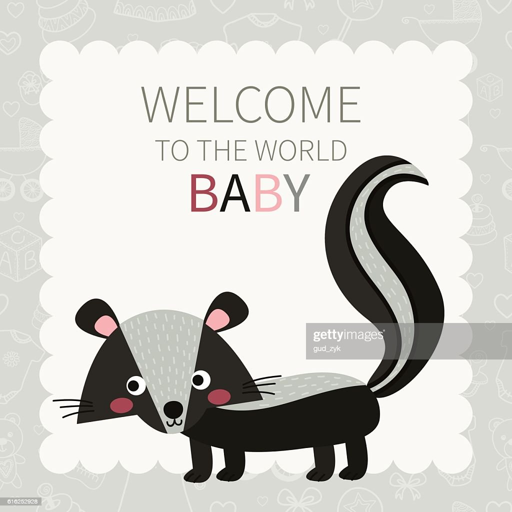 Baby. Cute little skunk : Arte vetorial