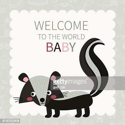 Baby. Cute little skunk : Arte vectorial