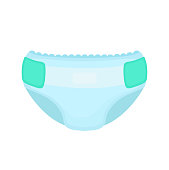 Baby diaper. Vector flat cartoon illustration icon design. Isolated on white backgroung. Diaper, nappy, kid, newborn, baby, children concept