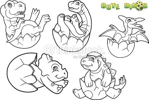 Conjunto De Bebé Dinosaurio Imagen Arte vectorial | Thinkstock