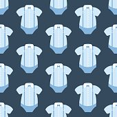 Baby fashion pattern on the blue background. Vector illustration