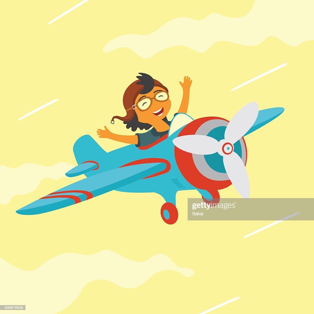 Bebê em um avião a voar : Arte vetorial