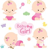 Vector illustration of baby girl with cute graphic elements. Perfect for baby shower.