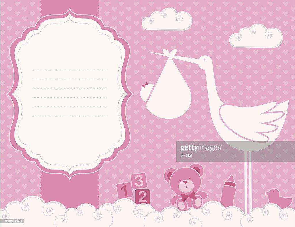 Baby Girl Birth Announcement Card Vector Art – Baby Girl Birth Announcement Cards