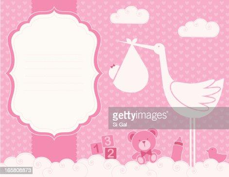 Baby Girl Birth Announcement Card Vector Art – Announcement of Baby Girl