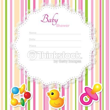 Bebê Menina Chuveiro Cartão No Fundo Listrado Arte Vetorial Thinkstock