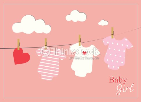 Bebê Menina Chuveiro Convite Cartão Bebê Bodysuits Em Fundo Rosa