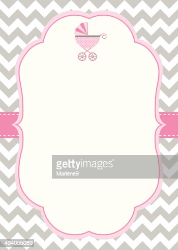 Baby Girl Shower Invitation Template Vector Art Thinkstock