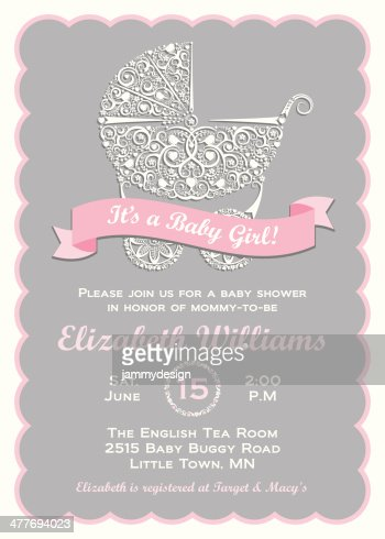 baby girl shower invitation vector art | getty images, Baby shower invitations