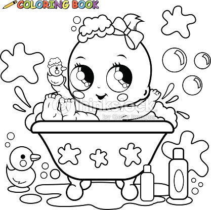 baby girl taking a bath coloring page vector art - Baby Girl Coloring Pages Kids