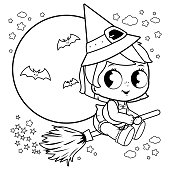 A baby witch girl flying with her broom on Halloween night. Vector black and white illustration