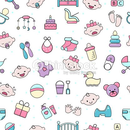 c4b42992f Baby icons vector kids toy for infant boys or girls in babyroom and childs  bottle or stroller illustration set of children signs bed for newborn  seamless ...