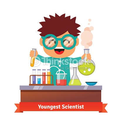 Baby Kid Doing Chemistry Experiments stock vector - Thinkstock
