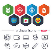 Calendar, Speech bubble and Download signs. Baby on board icons. Infant caution signs. Child pacifier nipple. Pregnant woman dress with big belly. Chat, Report graph line icons. More linear signs