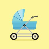 Baby perambulator vector icon with long shadow on yellow background