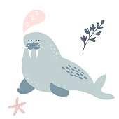 Baby print with dreaming walrus. Hand drawn graphic for poster, card, label, flyer, page, banner, baby wear, nursery. Scandinavian style. Vector illustration.