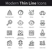 Baby products and games thin line art icons. Toddler educational toys like shape match, bead maze and simple rattle. Linear style illustrations isolated on white.