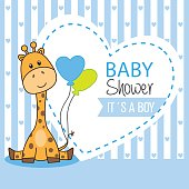 baby shower boy. Cute giraffe